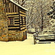 Log Cabin In The Snow Art Print