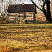 Log Cabin On A Hill Art Print