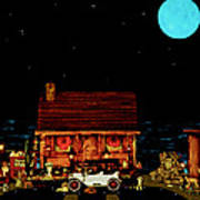 Log Cabin Scene  With The Old Vintage Classic 1913 Buick Model 25 In Color Art Print