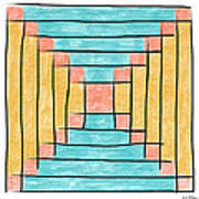 Log Cabin Variation - Retro Seafoam Art Print