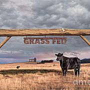 Log Entrance To Grass Fed Angus Beef Ranch Art Print