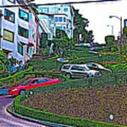 Lombard Street In San Francisco-california  Art Print
