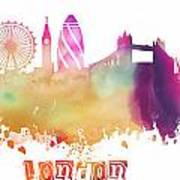 London England Skyline Pastel Art Print