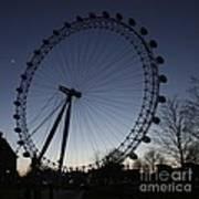 London Eye And New Moon Art Print