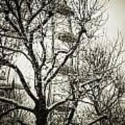 London Eye Through Snowy Trees Art Print