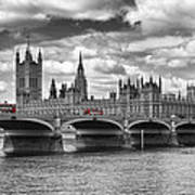 London - Houses Of Parliament And Red Buses Art Print by Melanie Viola