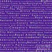 London In Words Purple Art Print