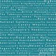 London In Words Teal Art Print