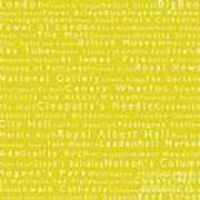 London In Words Yellow Art Print