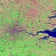 London, Infrared Satellite Image Art Print