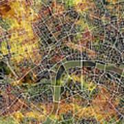 London Map Brown Art Print