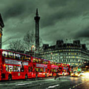 London Red Buses And Routemaster Print by Jasna Buncic