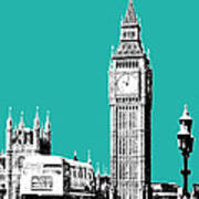 London Skyline Big Ben - Teal Art Print