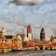 London Skyline From The River  Art Print