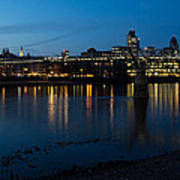 London Skyline Reflecting In The Thames River At Night Art Print