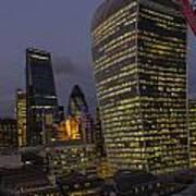 London Skyline Through A Fence Art Print
