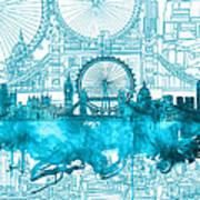 London Skyline Vintage Blue 2 Art Print