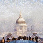 London St Pauls In The Fog Art Print by Pixel  Chimp