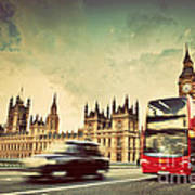 London The Uk Red Bus Taxi Cab In Motion And Big Ben Art Print