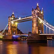London - Tower Bridge During Blue Hour Art Print