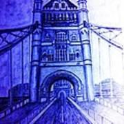 London Tower Bridge Tinted Blue Art Print