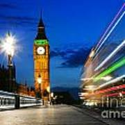 London Uk Red Bus In Motion And Big Ben At Night Art Print