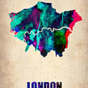 London Watercolor Map 2 Print by Naxart Studio