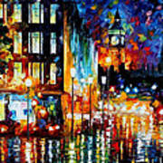 Londons Lights - Palette Knife Oil Painting On Canvas By Leonid Afremov Art Print