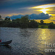 Lone Boat On The River Photo Art Print