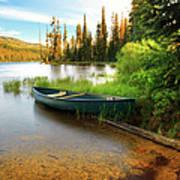 Lone Canoe On Shores Of Upper Payette Art Print