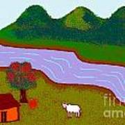 Lone Cow Art Print by Meenal C