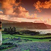 Lone Moai At Tongariki Art Print