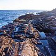 Lone Person On Rocks At Pemaquid Point Art Print