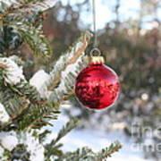 Lone Red Christmas Ball Art Print