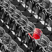 Lone Red Number 21 Fenway Park Bw Art Print