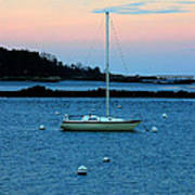 Lone Sailboat At York Maine Art Print