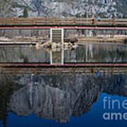 Lone Tourist And  Yosemite Falls Reflection Art Print