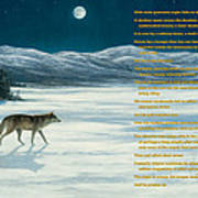 Lone Wolf In Winter   Version 1 Art Print by Steve Swavely