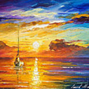 Lonely Sea 2 - Palette Knife Oil Painting On Canvas By Leonid Afremov Art Print