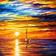 Lonely Sea 3 - Palette Knife Oil Painting On Canvas By Leonid Afremov Art Print