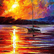 Lonely Yacht - Palette Knife Oil Painting On Canvas By Leonid Afremov Art Print