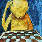 Lonesome Chess Player Art Print