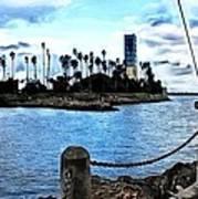 Long Beach Bay / Paintbrush Effect Art Print