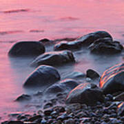 Long Exsposure Of Rocks And Waves At Sunset Maine Art Print