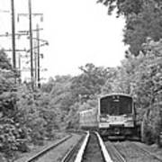 Long Island Railroad Pulling Into Station Art Print