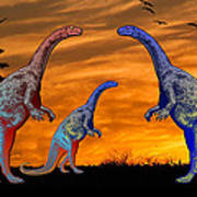 Long Necked Long Tailed Family Of Dinosaurs At Sunset Art Print