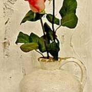 Long Stemmed Red Roses In Pottery Art Print by Marsha Heiken