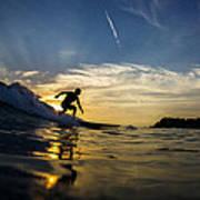 Longboarding Into The Sunset Art Print