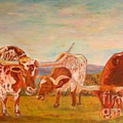 Longhorns On The Plateau Art Print