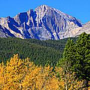 Longs Peak Autumn Aspen Landscape View Art Print